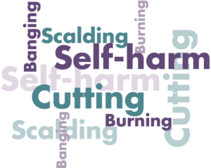wordle image of words associated with self-harming behaviours e.g. cutting