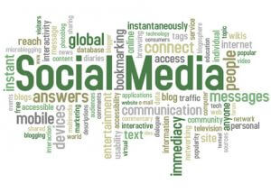 graphic of social media and related language